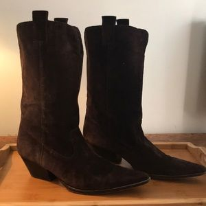MK CARLY- Chocolate Suede Cowboy Boots
